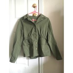 ‼️SALE‼️Green Jacket Army green light jacket with studs around the collar. Tightens at the waist to enhance the body figure. Buttons down. Great condition, worn once Decree Jackets & Coats