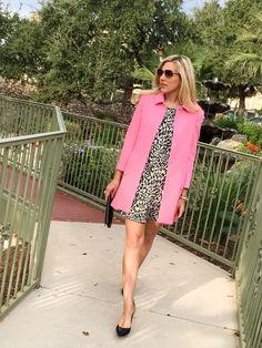 Piperlime Cheetah dress and Pink Coat via TexasFashionSpot.com