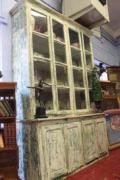 Grande libreria dell'800 francese lacca bianca e verde gessata r2yy - Il Balon -- Antichità di Claudio Fornasieri -- Mobili e oggetti antichi