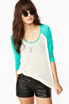 Home Run Raglan Tee.     I love the teal and the color-block, jersey style. Perfect for a grown-up tomboy