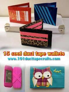 15 Cool Duct Tape Wallets. I like the way they put the stripes on the wallets on top of the picture.