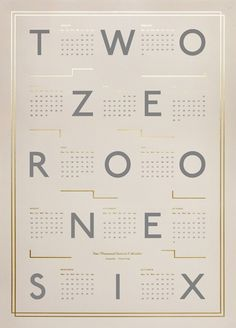 Calendar 2016, Beige/Gold by Kristina Krogh | Poster from theposterclub.com