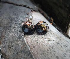 earrings, circle, resin, handmade dipped