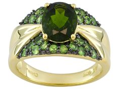 Stratify(Tm) 1.86ctw Chrome Diopside With .66ctw Mint Tsavorite 18k Yellow Gold Over Silver Ring