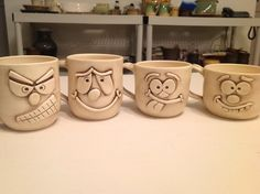 Clay Expressive Face Mugs - ceramic art - Clay Projects For Kids, Clay Crafts For Kids, Kids Clay, Pottery Mugs, Ceramic Pottery, Pottery Ideas, Ceramic Cups, Ceramic Art, Ceramica Exterior