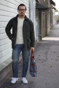 Mismo tote bag with Barbour jacket and Ralph Lauren knitwear