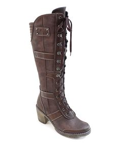 Coffee Lace-Up Combat Boots