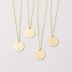 Large personalised disc necklace - gold circle necklace by Minetta Jewellery on #Etsy