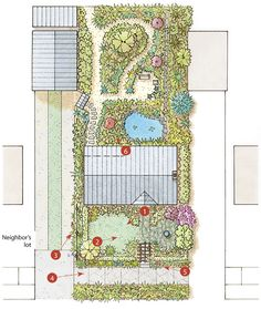 DESIGNING FOR URBAN HOMEOWNERS;  In this design, Plants Enclose an In-Town Lot. Green screens create a private yet welcoming oasis.  A limbed-up holly anchors on corner of the front yard, screening power lines yet not making the lawn and garden feel too closed in. Many urban residential environments are cursed with an excess of asphalt, noise, and unsightly views. So for those of us who live in cities, there is much to be said for creating a private oasis, no matter how small the plot.
