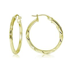 WH TOP/NAVY AZTEC $7.99 Gold Tone Over Sterling Silver Square-tube Diamond-Cut Round Hoop Earrings, 15mm