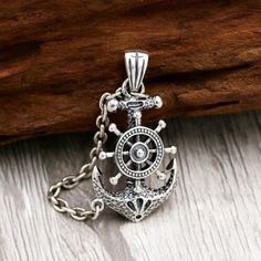 Men's Sterling Silver Rudder Anchor Necklace - Jewelry1000.com