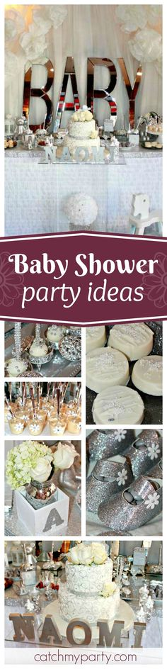 Take a look at this beautiful Silver Baby Shower. The cake pops are so gorgeous!!! See more party ideas and share yours at CatchMyParty.com