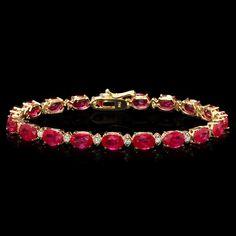 14k Gold 19.00ct Ruby 0.80ct Diamond Bracelet : Lot 209C