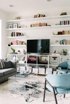 open shelving in living room