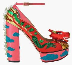 Charlotte Olympia Multicolor Dragon Chunky Heel Pumps Fall 2014 Shanghai Express #Shoes #Heels
