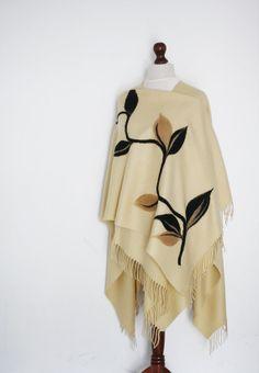 Women poncho beige poncho women cape beige by KnitwearFactory