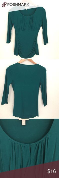 Banana Republic Green 3/4 Sleeve Top Beautiful Forest green professional looking Top features crew nick, peep hole at the collar, 3/4 sleeves, embellishes chest and sides. Perfect condition, no sign of fading. Banana Republic Tops