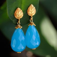 Large Blue Onyx Drops and 22K Gold Vermeil Earrings