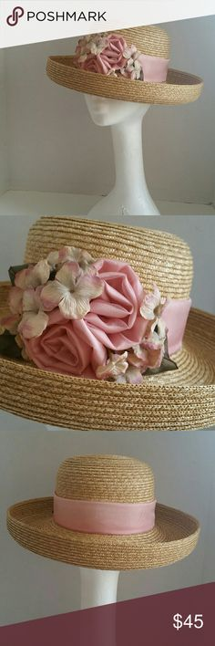 "Spring Holiday Hat Soft Pink Roses Perfect condition, measures around 21.75"" circumference at inner band. Toucan Collection New York  Accessories Hats"
