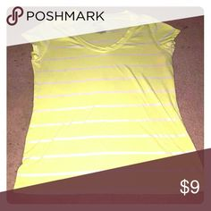 Neon Shirt Short sleeve top with stripes.neon yellowish green with white stripes. No Boundaries Tops Tees - Short Sleeve