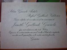 Invitación cumpleaños. Caligrafia con letra inglesa.