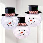 Round Snowmen Paper Lanterns With Hats - 24cm
