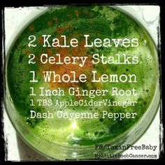 Belly fat detox juice recipe.  It's intense!  If new to juicing, then add a green apple or 1/2 cucumber.