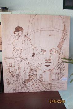 Tema egípcio pirografado em pinho ( 80 x 120 cm)