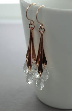Rose gold tone chandelier bronze earrings with clear by IngoDesign