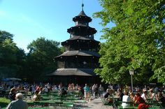 Chinese Tower with Beer garden in English Garden, MUNICH Germany. (910 acres, created 1789)