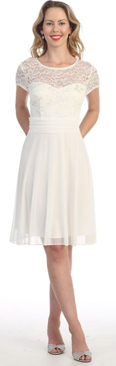 Off White Knee Length Semi Formal Dress #discountdressshop #shortdress #semiformal #offwhite #lace #cocktail