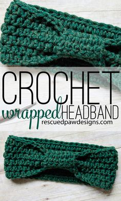 Crochet Wrapped Headband Pattern by Rescued Paw Designs. Make this cozy crochet headband with Lion's Pride Woolspun! Free pattern calls for less than 1 skein of Lion's Pride Woolspun (pictured in evergreen) and a size J (6mm) crochet hook.