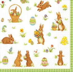 Caspari Entertaining Luncheon Napkin Cottontails Green 20Pack -- Want to know more, click on the image.
