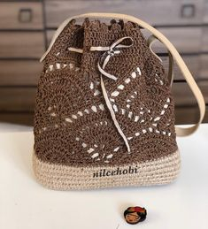 """New Cheap Bags. The location where building and construction meets style, beaded crochet is the act of using beads to decorate crocheted products. """"Crochet"""" is derived fro Crochet Backpack, Crochet Tote, Crochet Handbags, Crochet Purses, Bead Crochet, Drawstring Bag Diy, Crochet Shoulder Bags, Knitted Bags, Purses And Bags"""