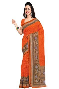 Orange,Fawn Color Printed Silk Saree