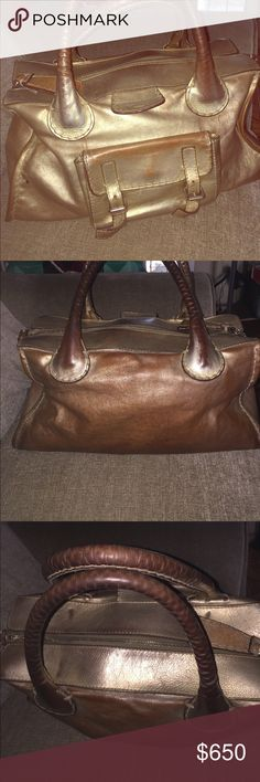 Huge Chloe Bag Authentic shoulder handbag the biggest size of the Edith style This bag was Gold color now it turn brown as you can see on the pics also its dirty inside No Holes No odors No loose stitches Chloe Bags Shoulder Bags