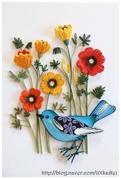 paper quilling - flower and bird  http://blog.naver.com/101kaikei/140208560467