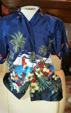 Hawaiian Parrot Shirt Size L #Hawaiian #Hawaiian