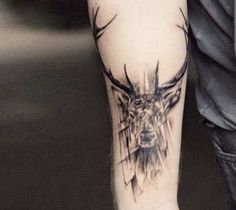 Perfect black and gr Perfect black and grey Deer tattoo motive by Versus Ink Body Art Tattoos, New Tattoos, Sleeve Tattoos, Tattoos For Guys, Cool Tattoos, Wrist Tattoos For Men, Tattoo Sleeves, Tatoos, Elephant Tattoos