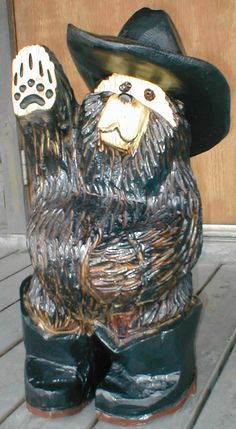 """Chainsaw carved bear-20"""" cowboy-FREE SHIPPING!"""