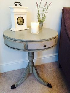 Annie Sloan Paris Grey all over and then a light covering of Paloma over the front of the three drawers and Emile inside the drawers.
