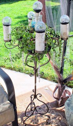 Outdoor Light Stand Beauteous Outdoor Ground Chandelier Made From An Old Plant Stand And Some Decorating Design