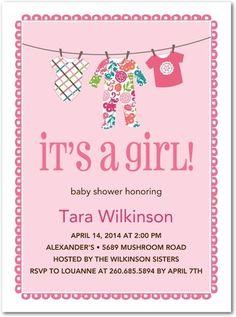 Precious Pajamas: Lola - Baby Shower Invitations - Vera Bradley - Lipstick - Pink : Front