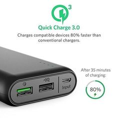 $ 54.99 Amazon.com: PowerCore 20000 with Quick Charge 3.0, Anker's First Qualcomm Quick Charge 3.0 Portable Charger, Backwards Compatible with All Versions of Qualcomm Quick Charge, For Samsung, iPhone, iPad and more: Electronics