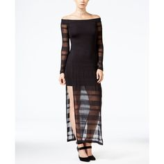 chelsea sky Off-The-Shoulder Shadow Stripe Dress, ($68) ❤ liked on Polyvore featuring dresses, black, off the shoulder dress and off shoulder dress