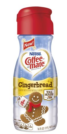 Make your gingerbread lattes at home with this new cookie-flavored creamer, which you can find in grocery stores now. Coffee-Mate also sells an eggnog-flavored creamer.   - Delish.com