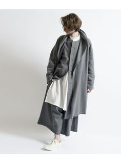 W / E / N compression wool No color pivot sleeve coat 詳細画像 Black 8