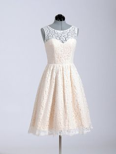 Short Pale Pink Lace Bridesmaid Dress Knee Length di HedyDresses, $71.00