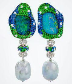 """margotmckinneyjewelleryTwo fabulous Australian gems - Opal and South Sea Pearls together in """"Sea Foam""""."""