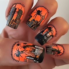 Attack of the giant spiders polishes used #chinaglaze orange knockout #mundodeunas black-2, stamping plates used #bundlemonster BM-15,#infinity-81, Dash-c-3,#uberchicbeauty Halloween-1